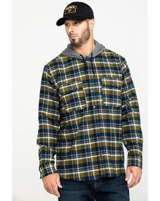 Hawx® Men's Grey Hooded Flannel Shirt Work Jacket - Tall , Grey, hi-res