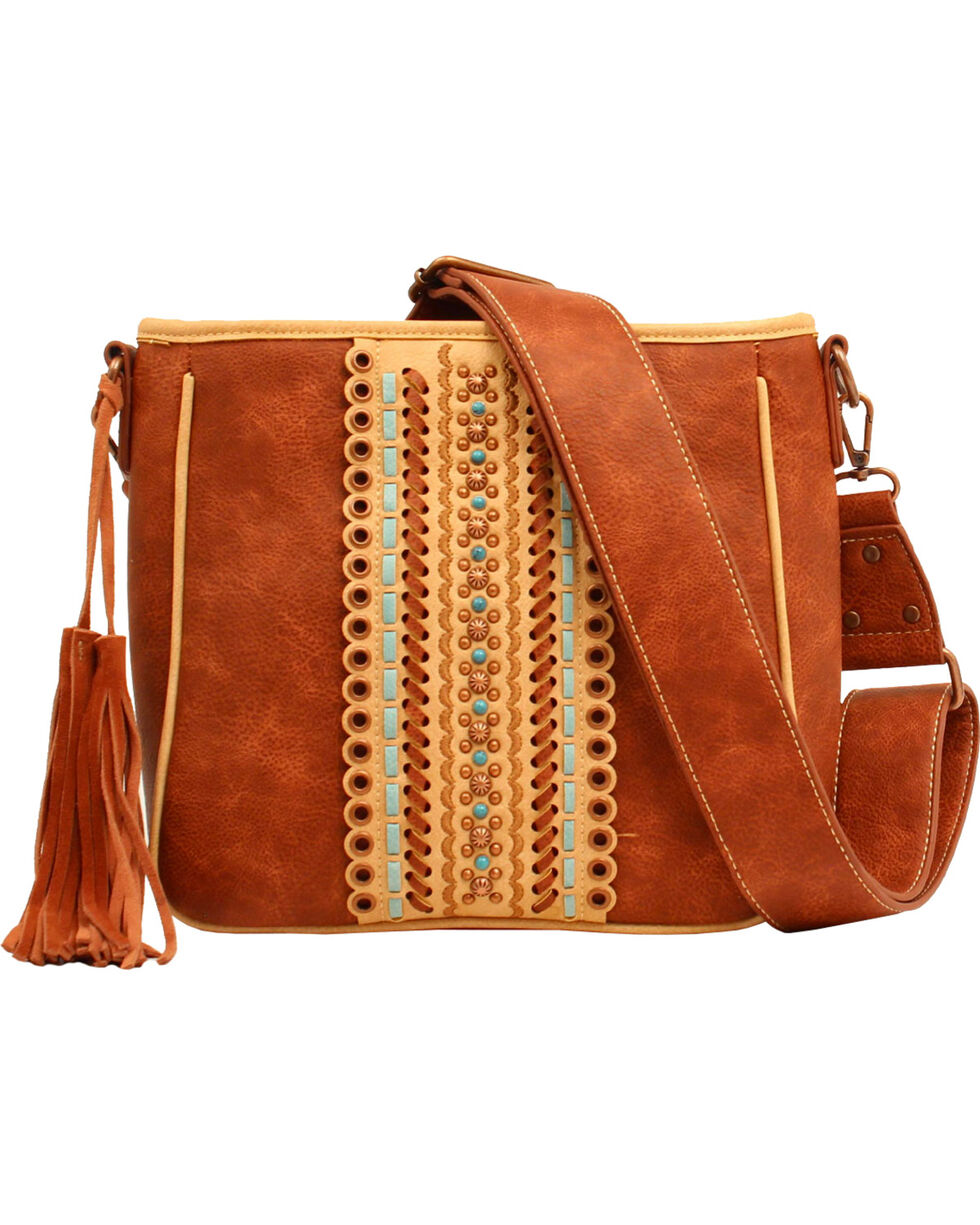 Blazin Roxx Women's Laney Fringe Tassel Concealed Carry Messenger Bag, Brown, hi-res