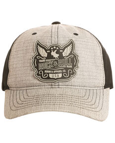 Rock & Roll Cowboy Men's Wing Patch Cap, Grey, hi-res