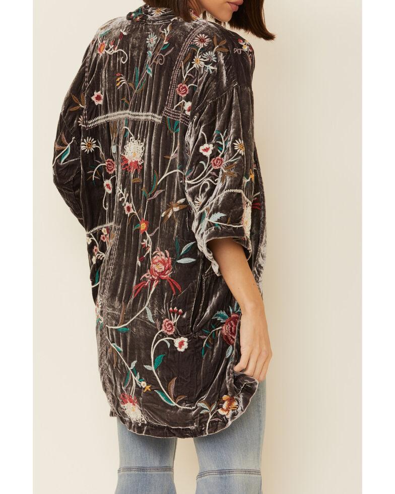 Johnny Was Women's Pewter Uriah Velvet Kimono, Grey, hi-res