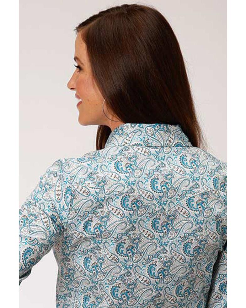 Amarillo Women's Paisley Long Sleeve Western Shirt, Blue, hi-res