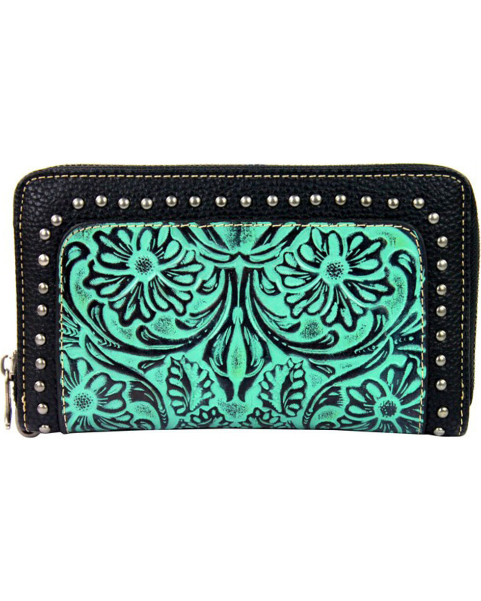 Montana West Trinity Ranch Tooled Wallet with Studs, , hi-res