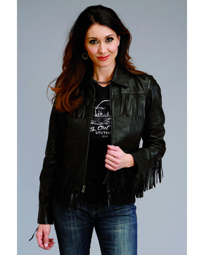 Stetson Women's Black Fringe Leather Jacket, Black, hi-res