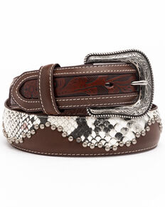Moonshine Spirit Men's Brown Snake Studded Western Belt , Brown, hi-res