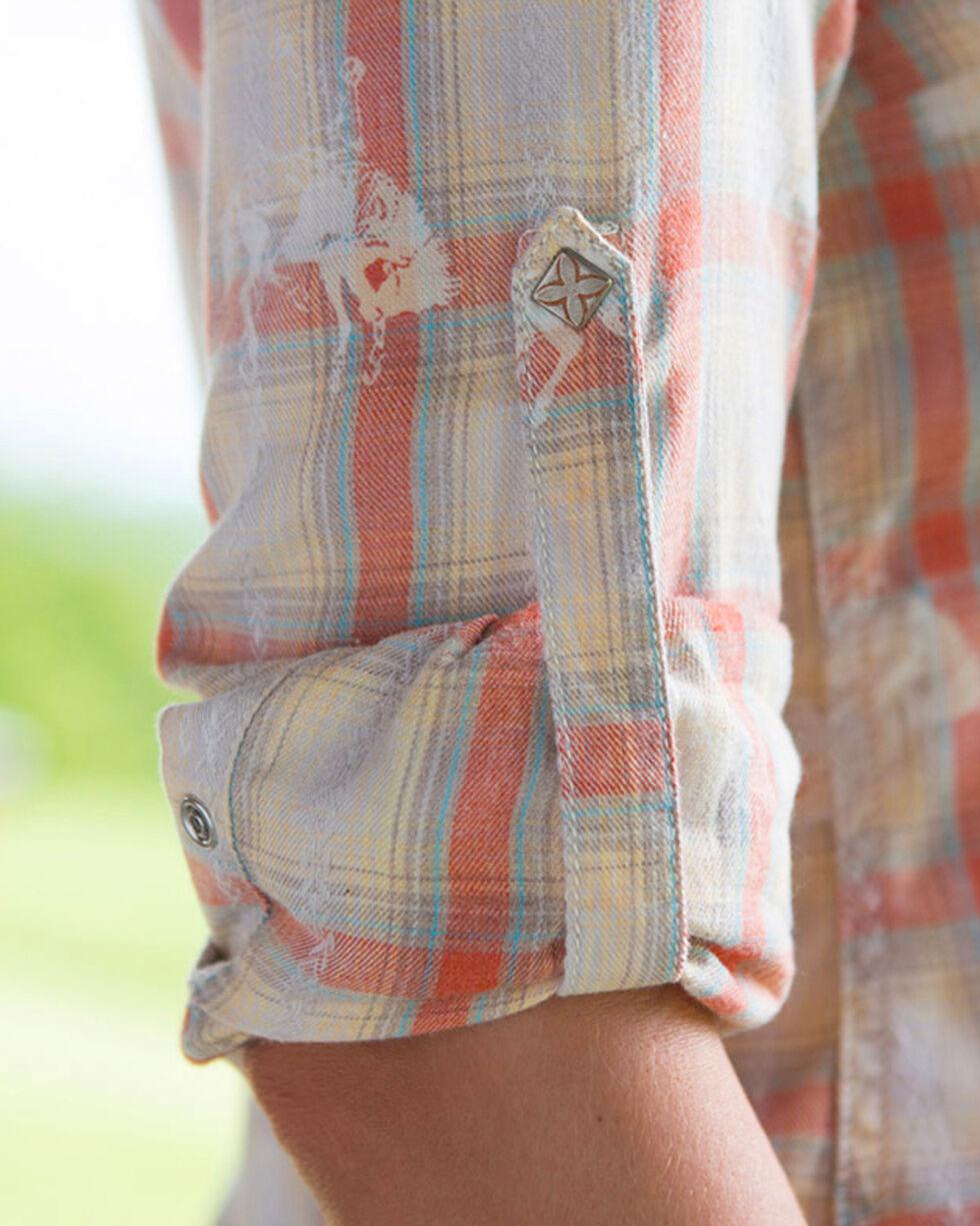 Ryan Michael Women's Campfire Bucking Horse Plaid Long Sleeve Shirt, Coral, hi-res