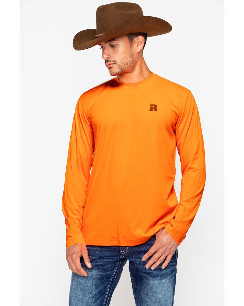 Wrangler Men's Riggs Crew Performance Long Sleeve T-Shirt, Bright Orange, hi-res