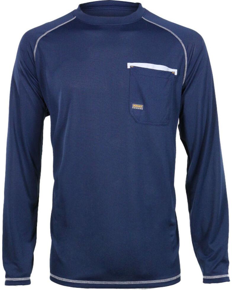 Ariat Men's Rebar Sun Stopper Long Sleeve Shirt, Navy, hi-res