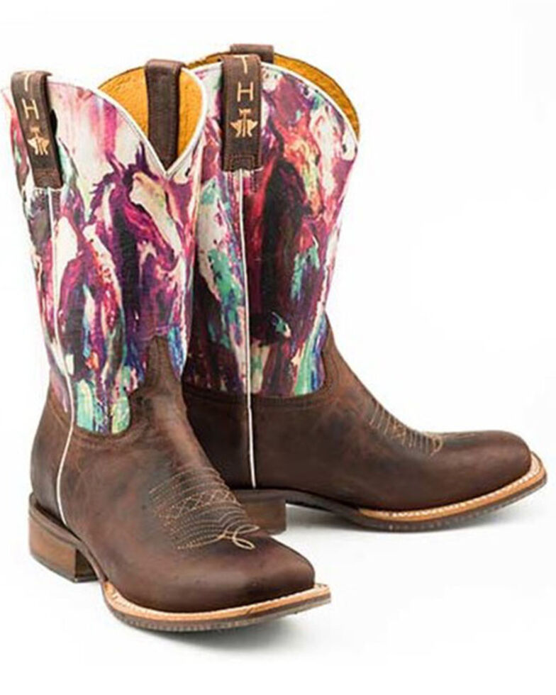 Tin Haul Women's Highbrow Horses Western Boots - Wide Square Toe, Brown, hi-res