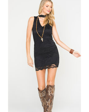 Panhandle Women's Black Sleeveless Lace Choker Dress, Black, hi-res