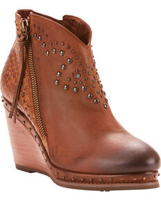 Ariat Women's Stax Stud Detail Wedge Booties - Round Toe, Tan, hi-res