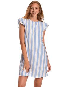 1080a0170a5 CES FEMME Women s Blue Double Ruffle Cap Sleeve Dress