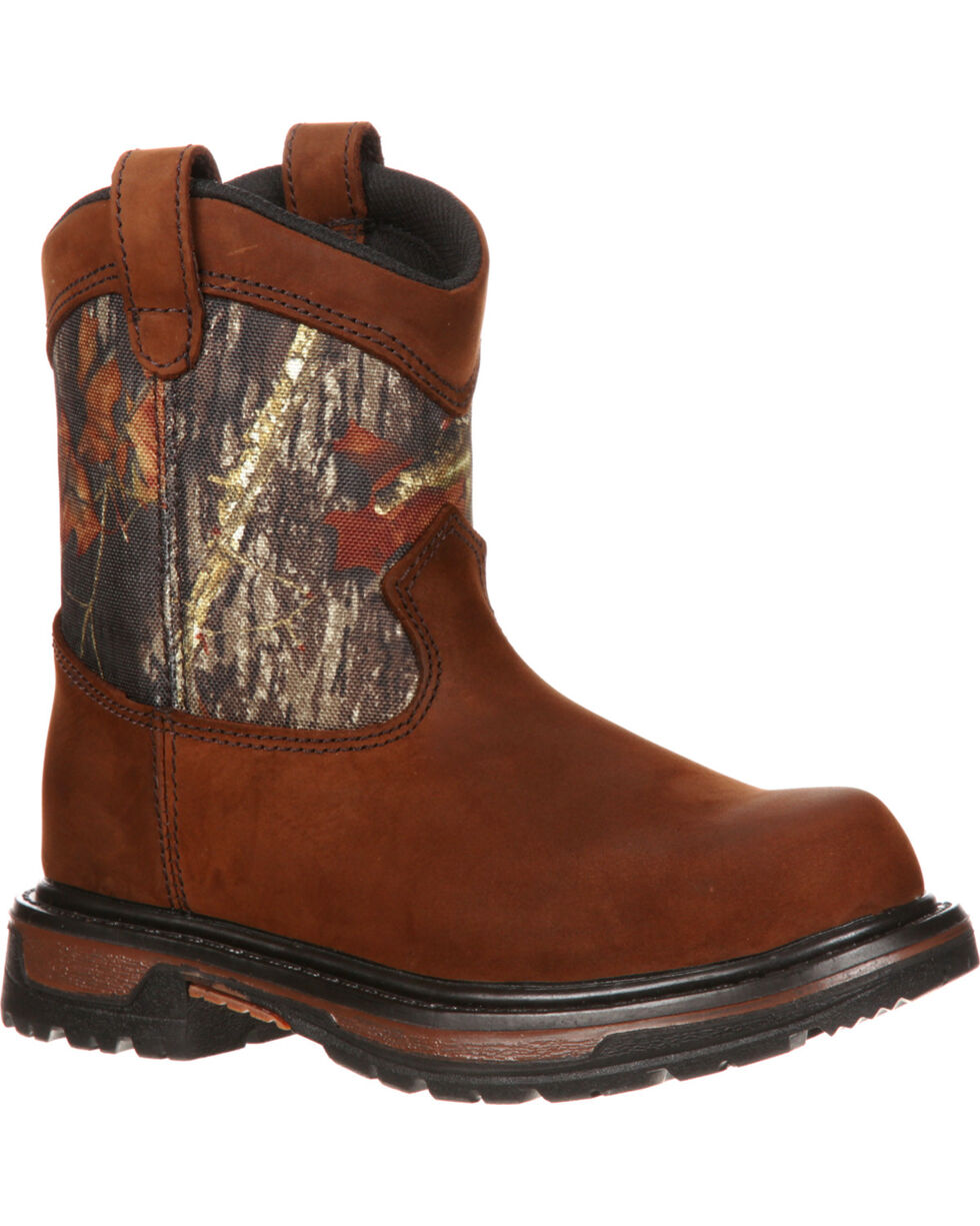 Rocky Boys' Ride Wellington Waterproof Boots, Brown, hi-res