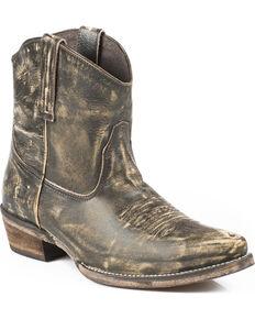 Roper Women's Distressed Snip Toe Short Western Boots, Brown, hi-res