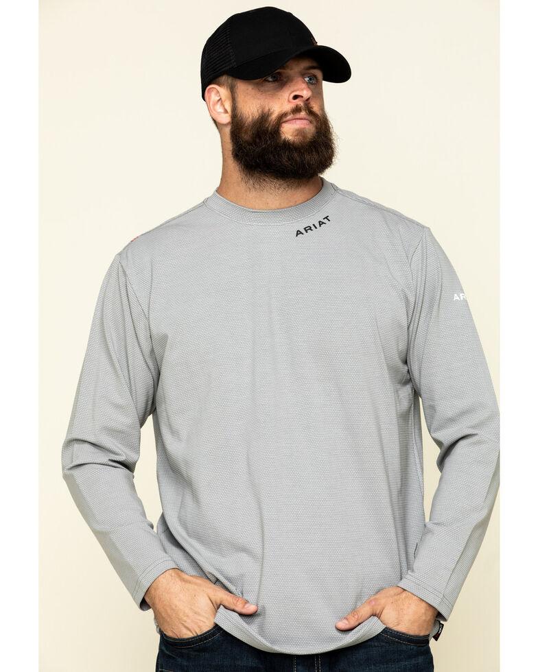 Ariat Men's Navy FR Base Layer Long Sleeve Work T-Shirt , Navy, hi-res