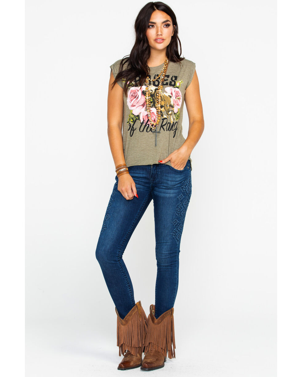 Rodeo Quincy Women's Roses Of Range Graphic Rolled Sleeve Top , Olive, hi-res