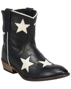 Laredo Women's Star Girl Western Booties - Round Toe, Black, hi-res