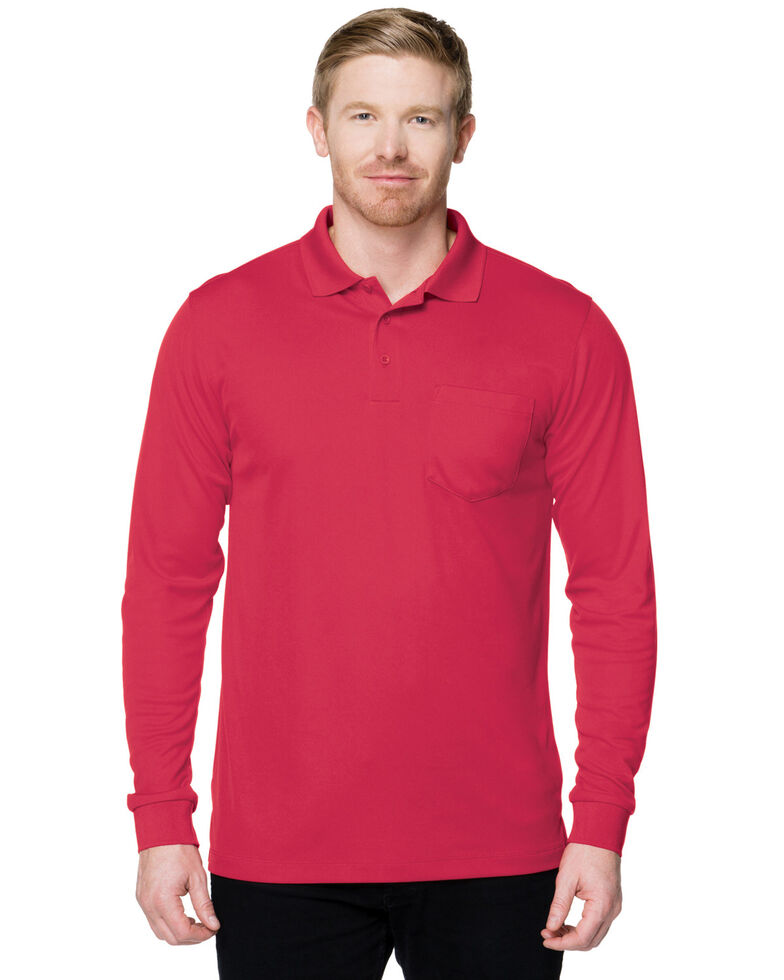 Tri-Mountain Men's Red Vital Pocket Long Sleeve Polo Shirt, Red, hi-res