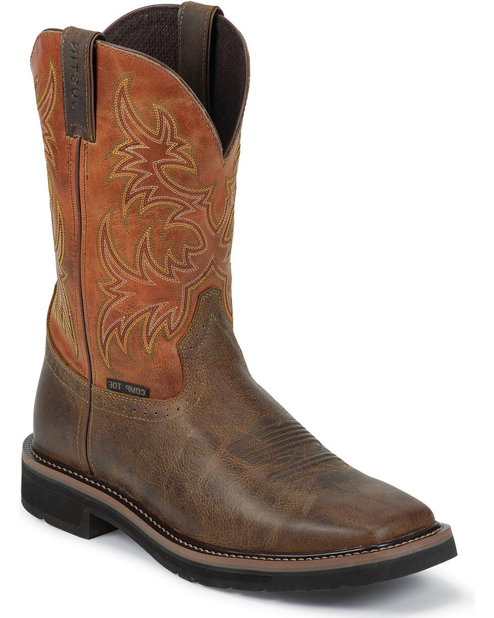 "Justin Men's Stampede Rugged 11"" Composition Toe Western Work Boots, Tan, hi-res"