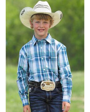 Cinch Boys' Blue Match Dad Large Plaid Western Shirt , White, hi-res