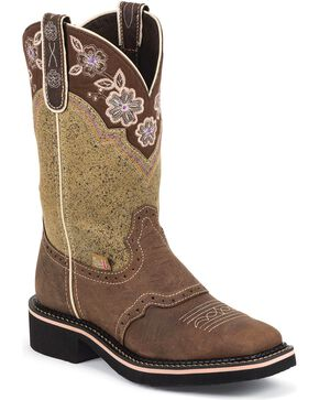 Justin Women's Floral Embroidered Western Boots, Barnwood, hi-res