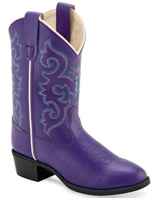 0a2a8ec6d Old West Girls' Purple Western Boots - Round Toe