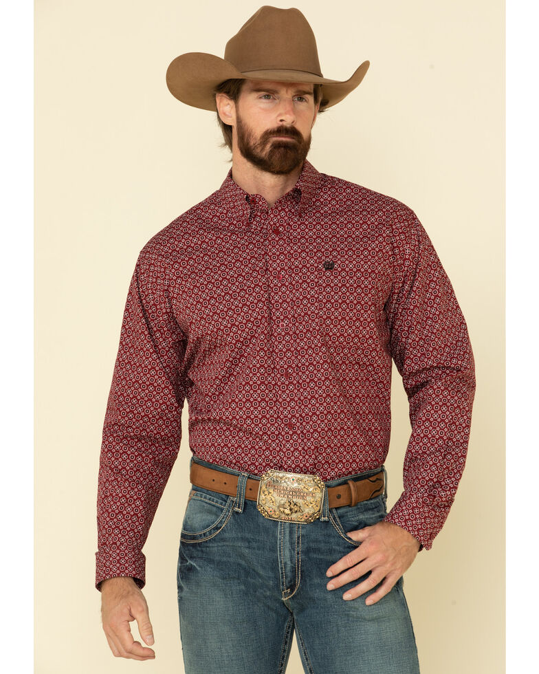 Cinch Men's Burgundy Floral Geo Print Long Sleeve Western Shirt , Burgundy, hi-res