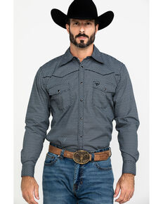 Cowboy Hardware Men's Brick Line Geo Print Long Sleeve Western Shirt , Black, hi-res