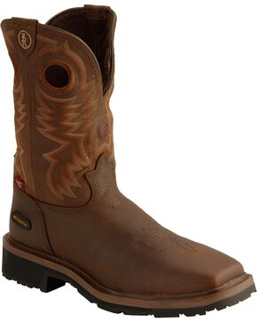 Tony Lama Men's 3R Composition Toe Western Work Boots, Chocolate, hi-res