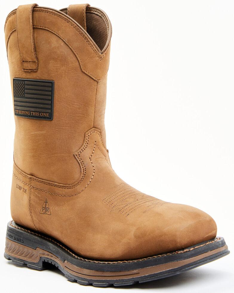 Cody James Men's Disruptor Western Work Boots - Nano Composite Toe, Brown, hi-res