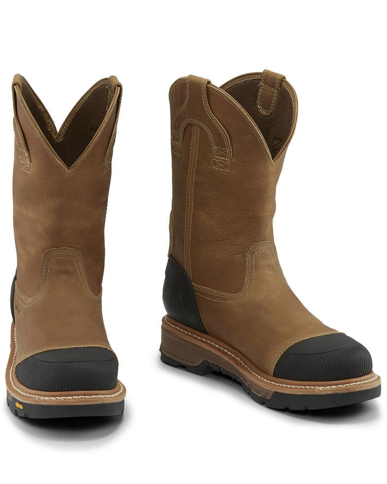 Justin Men's Warhawk Oyster Waterproof Western Work Boots - Composite Toe, Tan, hi-res