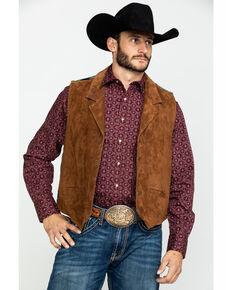 Scully Leatherwear Men's Aztec Knit Back Suede Vest , Brown, hi-res