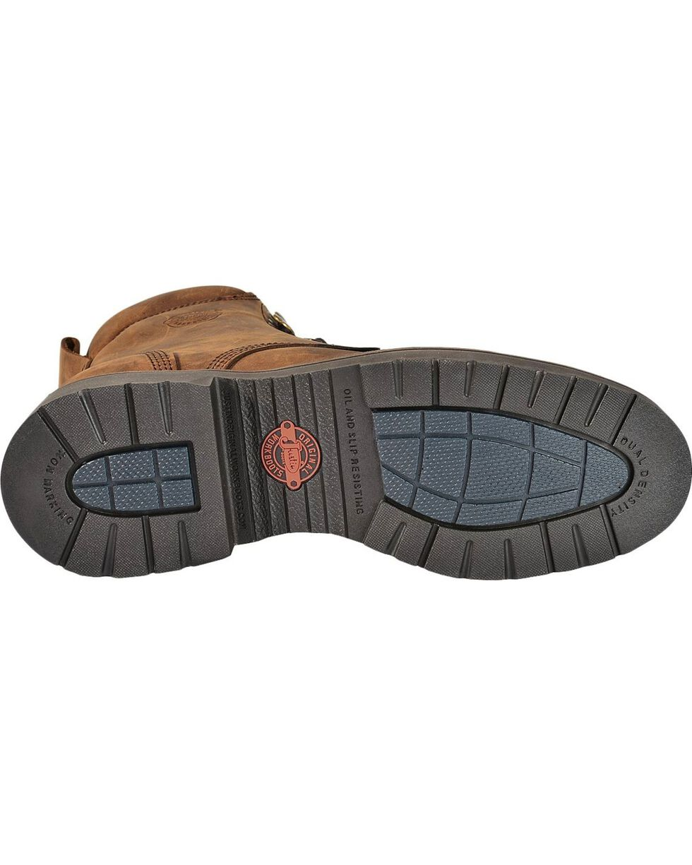 """Justin Men's Original 8"""" Lace-Up Work Boots, Aged Bark, hi-res"""