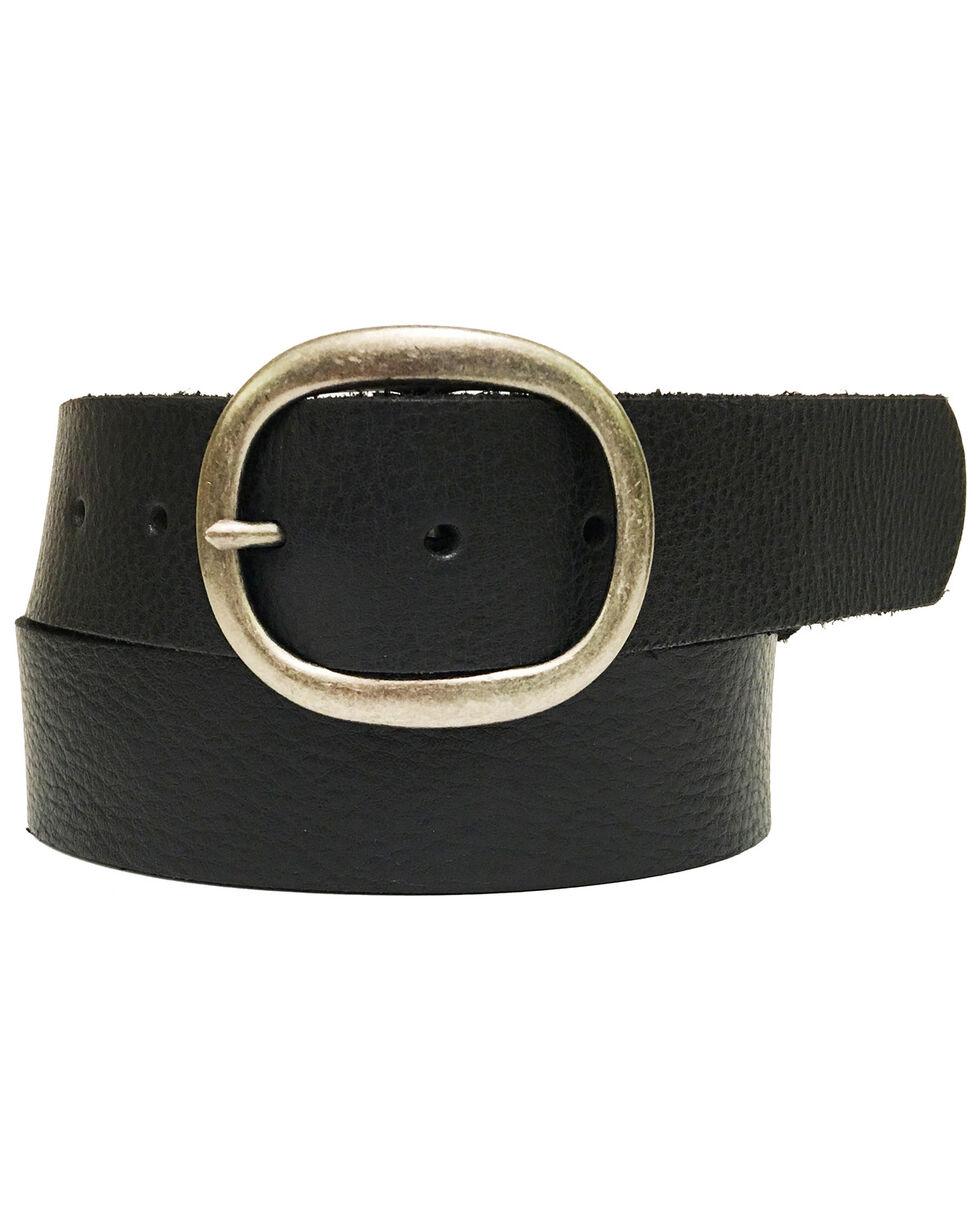 Cowgirls Rock Women's Black Bridle Leather Bar Buckle Belt, Black, hi-res