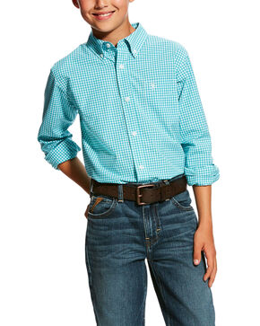 Ariat Boys' Hallaway Check Plaid Long Sleeve Western Shirt , Turquoise, hi-res