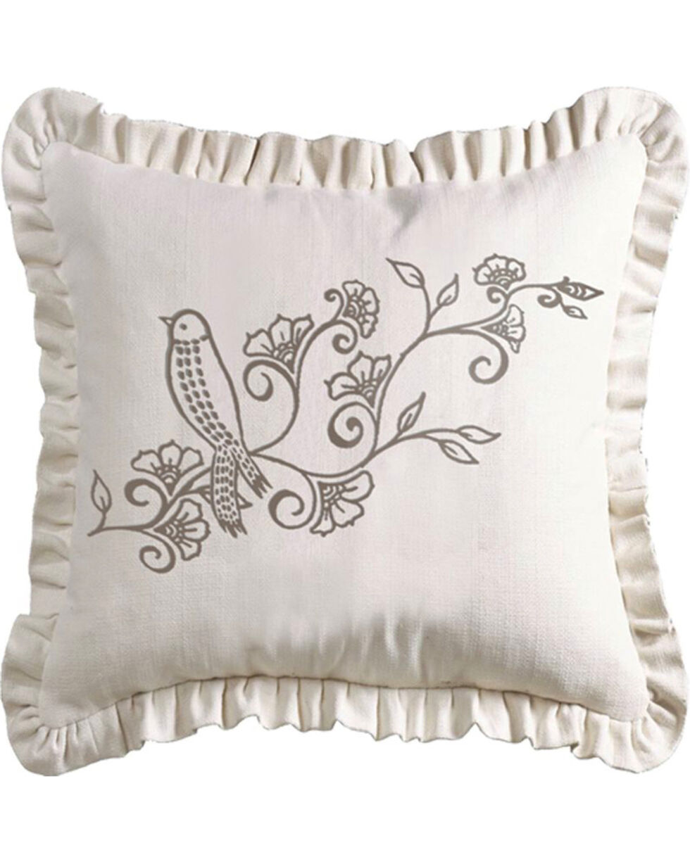 HiEnd Accents Gramercy White Linen Weave Ruffled Pillow with Embroidery Detail, Multi, hi-res