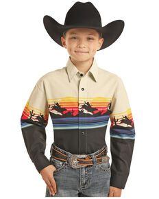 Panhandle Boys' Scenic Border Print Snap Long Sleeve Western Shirt , Multi, hi-res