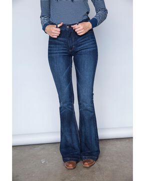 Kimes Ranch Women's Dark Wash Jennifer High Rise Wide Flare Jeans, Blue, hi-res