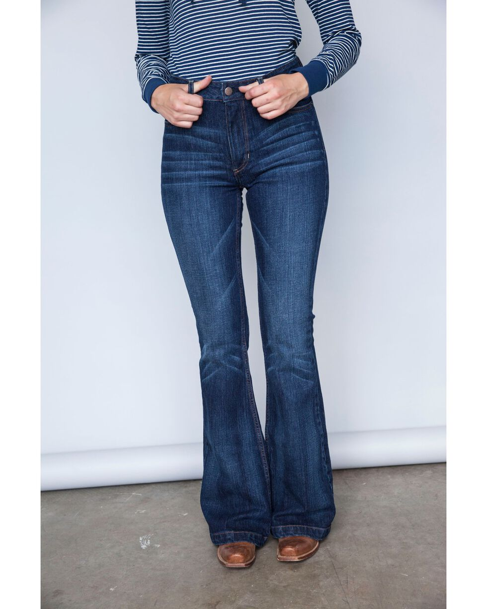 Kimes Ranch Women's Dark Wash Jennifer High Rise Wide Flare Jeans, , hi-res