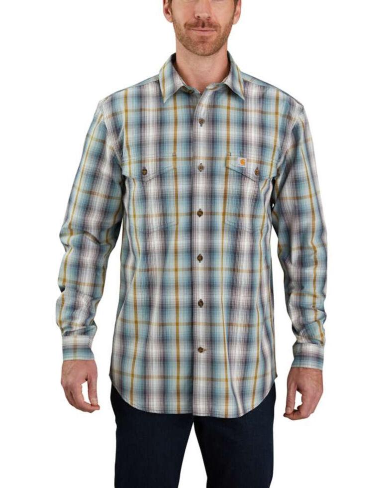 Carhartt Men's Blue Case Plaid Long Sleeve Work Shirt , Blue, hi-res