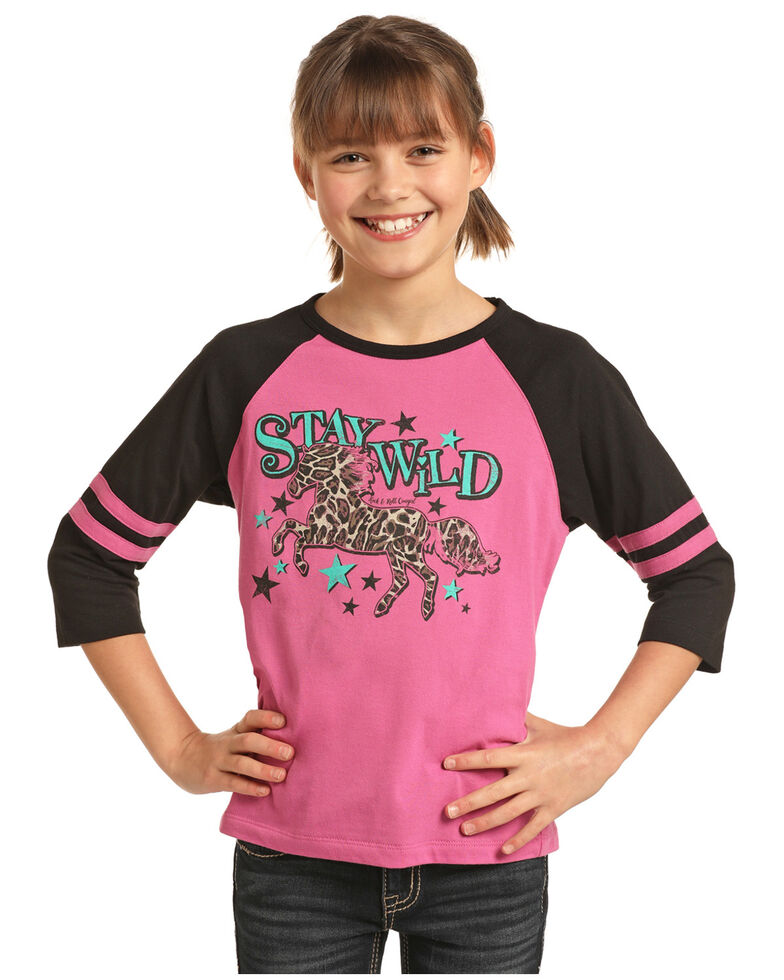 Rock & Roll Denim Girls' Stay Wild Leopard Horse Baseball Tee, Pink, hi-res