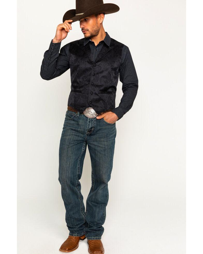 Cody James Men's Paisley Print Jacquard Button Front Vest , Black, hi-res