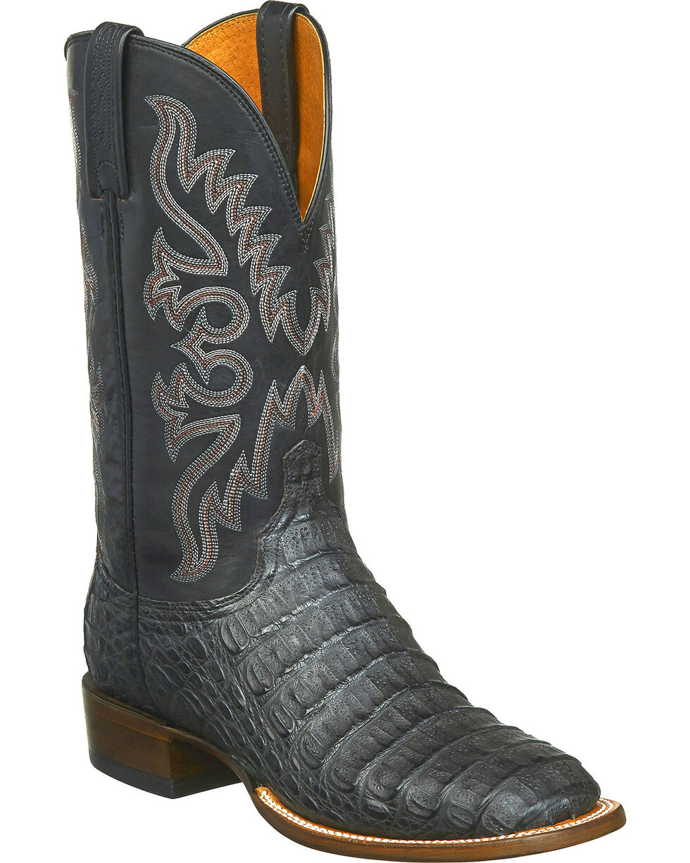 Lucchese Men's Handmade Fisher Hornback Caiman Leather Horseman Boots - Square Toe, Black, hi-res