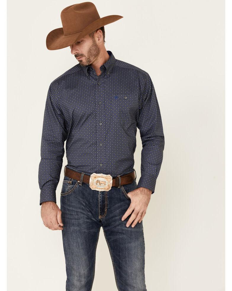 Ariat Men's Classic Built Stretch Geo Print Long Sleeve Button-Down Western Shirt , Grey, hi-res