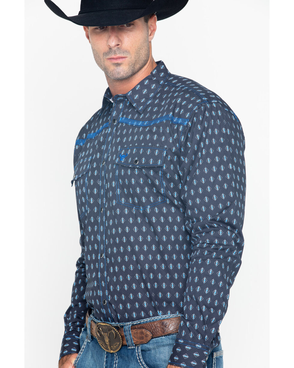 Cowboy Hardware Men's Diamond Print Long Sleeve Shirt , Navy, hi-res