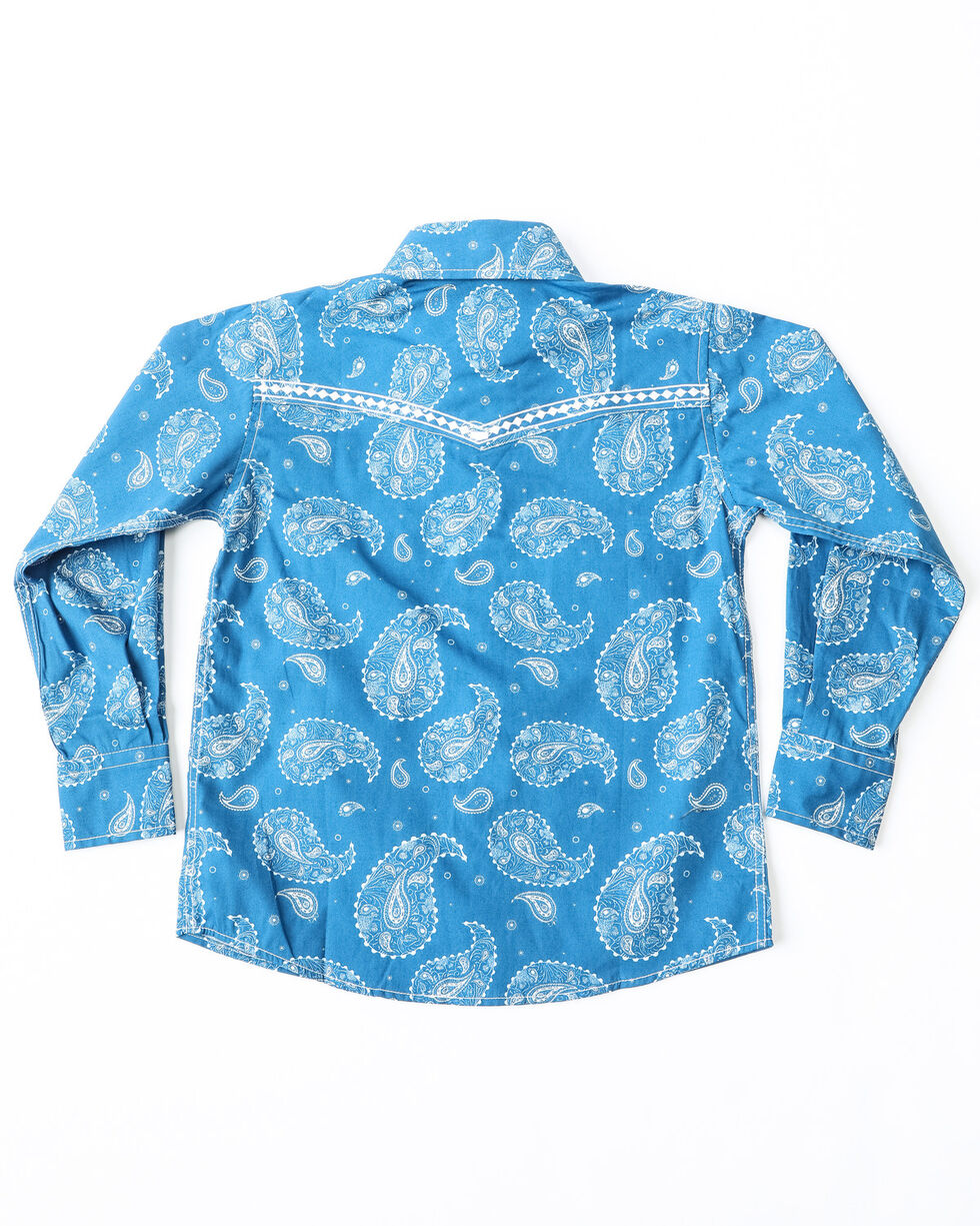 Cowboy Hardware Boys' Large Paisley Print Long Sleeve Western Shirt , Blue, hi-res