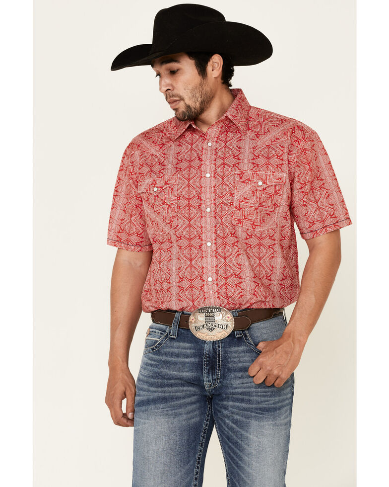 Rough Stock By Panhandle Men's Red Diamond Geo Print Short Sleeve Western Shirt , Red, hi-res