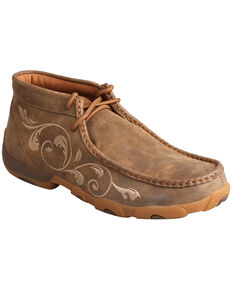 Twisted X Women's Embroidered Filigree Driving Mocs, Brown, hi-res