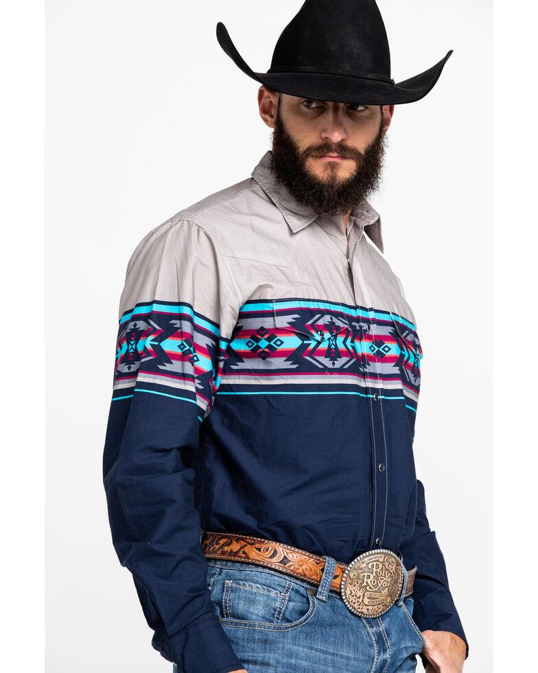 Roper Men's Made West Aztec Border Print Long Sleeve Western Shirt , Blue, hi-res