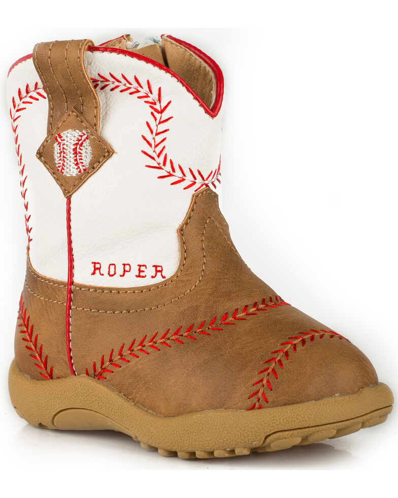 Roper Infant Boys' Cowbaby Baseball Pre-Walker Cowboy Boots - Round Toe, Tan, hi-res