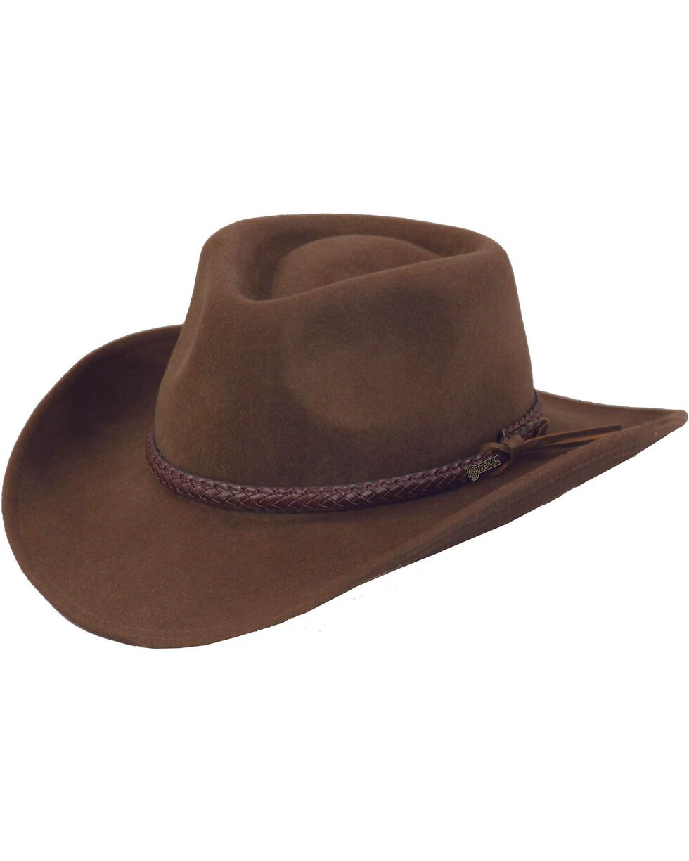 Outback Trading Co. Dusty River Crushable Australian Wool Hat, Brown, hi-res